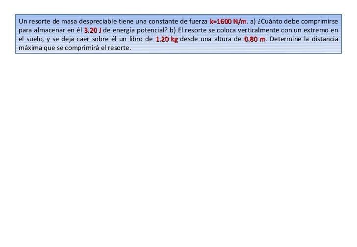 Un resorte de masa despreciable tiene una constante de fuerza k=1600 N/m. a) ¿Cuánto debe comprimirse                     ...