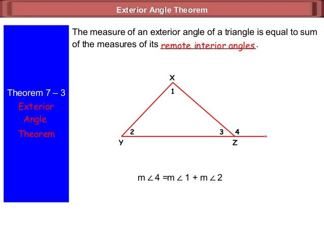 7 2 exterior angle theorem - The exterior angle of a triangle is equal to ...