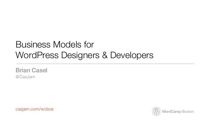 Business Models for WordPress Designers & Developers