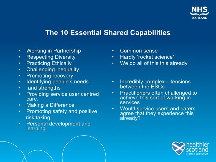 10 essential shared capabilities Buy the 10 essential shared capabilities for mental health practice: learning materials (scotland) 2011 version by susanne forrest, mathieson alex (isbn: 9780857910110) from amazon's book store.