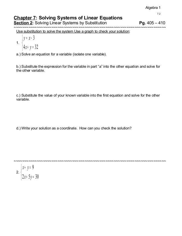 Algebra 1                                                                                               7.2Chapter 7: Solv...