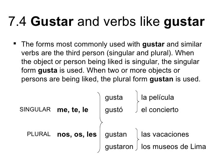 gustar and verbs like gustar the forms most