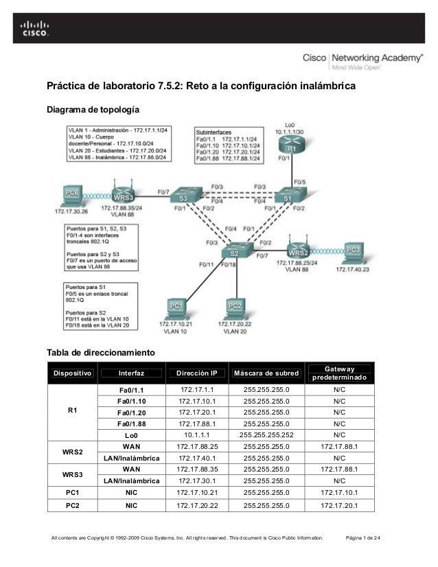 Práctica de laboratorio 7.5.2: Reto a la configuración inalámbricaDiagrama de topologíaTabla de direccionamiento          ...