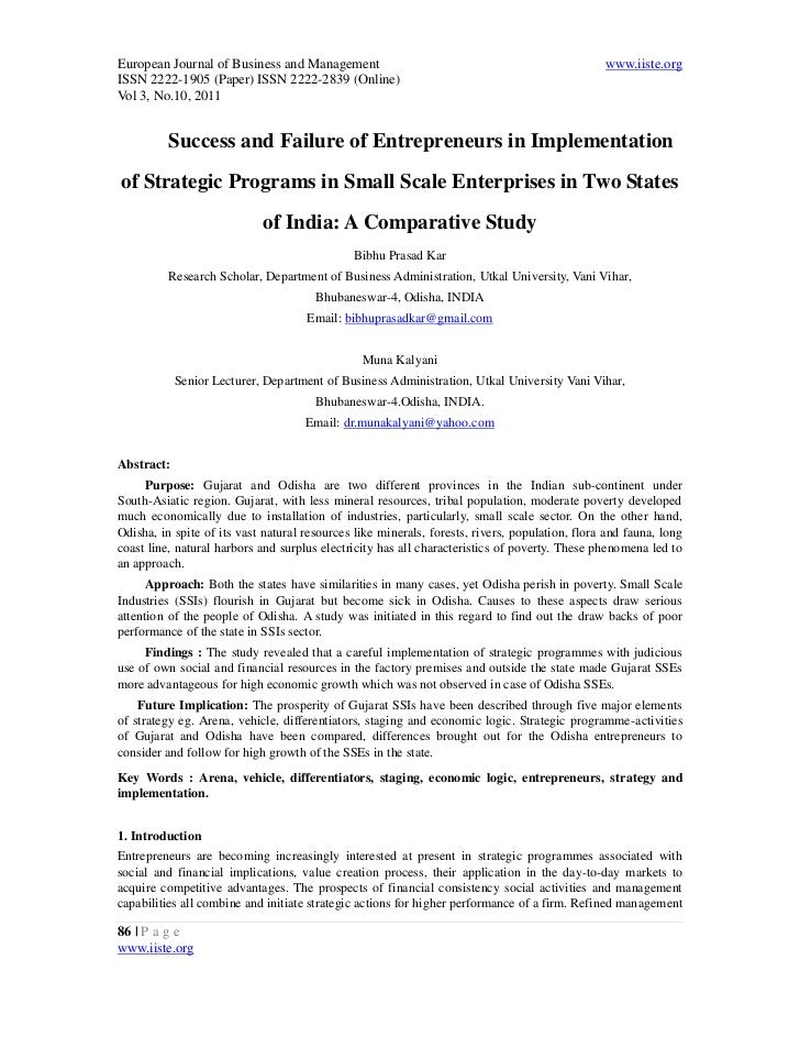 7.[86 99] success and failure of entrepreneurs in implementation of strategic programmes in small scale enterprises in two states of india a comparative study