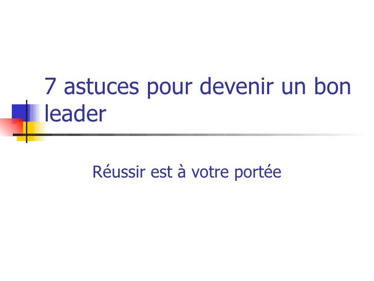 comment devenir un leadership ppt