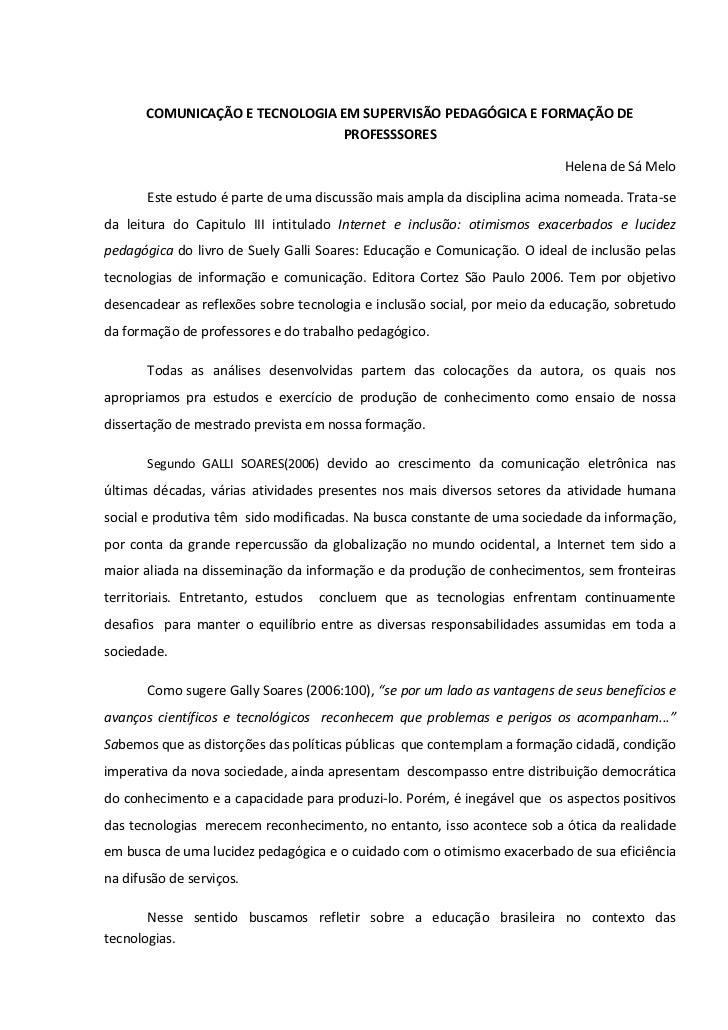 COMUNICAÇÃO E TECNOLOGIA EM SUPERVISÃO PEDAGÓGICA E FORMAÇÃO DE                                PROFESSSORES               ...