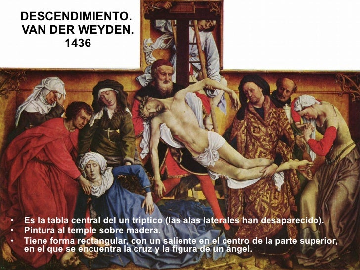 DESCENDIMIENTO.  VAN DER WEYDEN. 1436 <ul><li>Es la tabla central del un tríptico (las alas laterales han desaparecido). <...