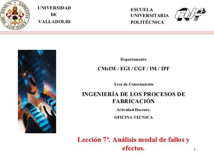 Departamento CMeIM / EGI / CGF / IM / IPF Área de Conocimiento INGENIERÍA DE LOS PROCESOS DE FABRICACIÓN Actividad Docente...