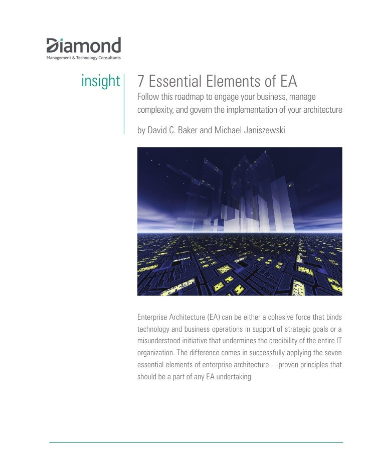 insight   7 Essential Elements of EA           Follow this roadmap to engage your business, manage           complexity, a...
