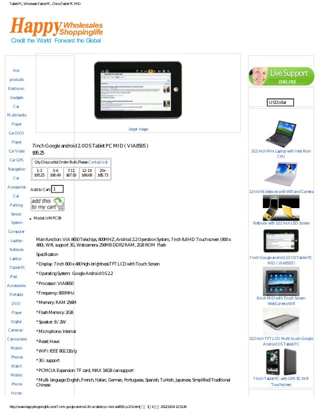 7 inch google android 20 os tablet pc mid via8505