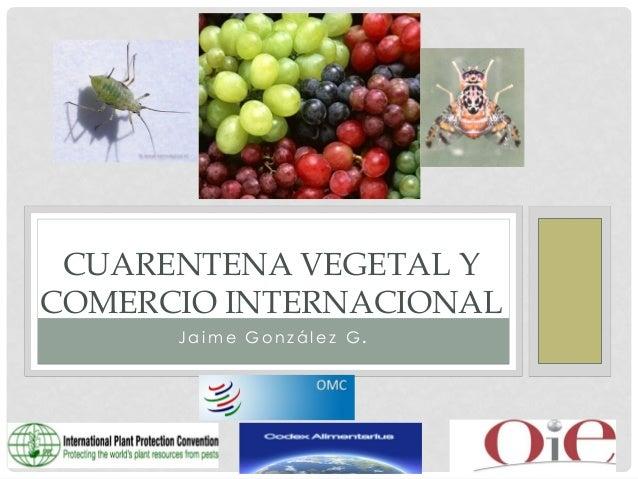 CUARENTENA VEGETAL Y COMERCIO INTERNACIONAL Jaime González G.
