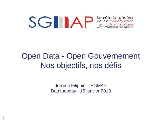 Open Data - Open Gouvernement        Nos objectifs, nos défis            Jérôme Filippini - SGMAP           Datatuesday - ...