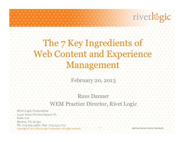 The 7 Key Ingredients of                Web Content and Experience                      Management                        ...