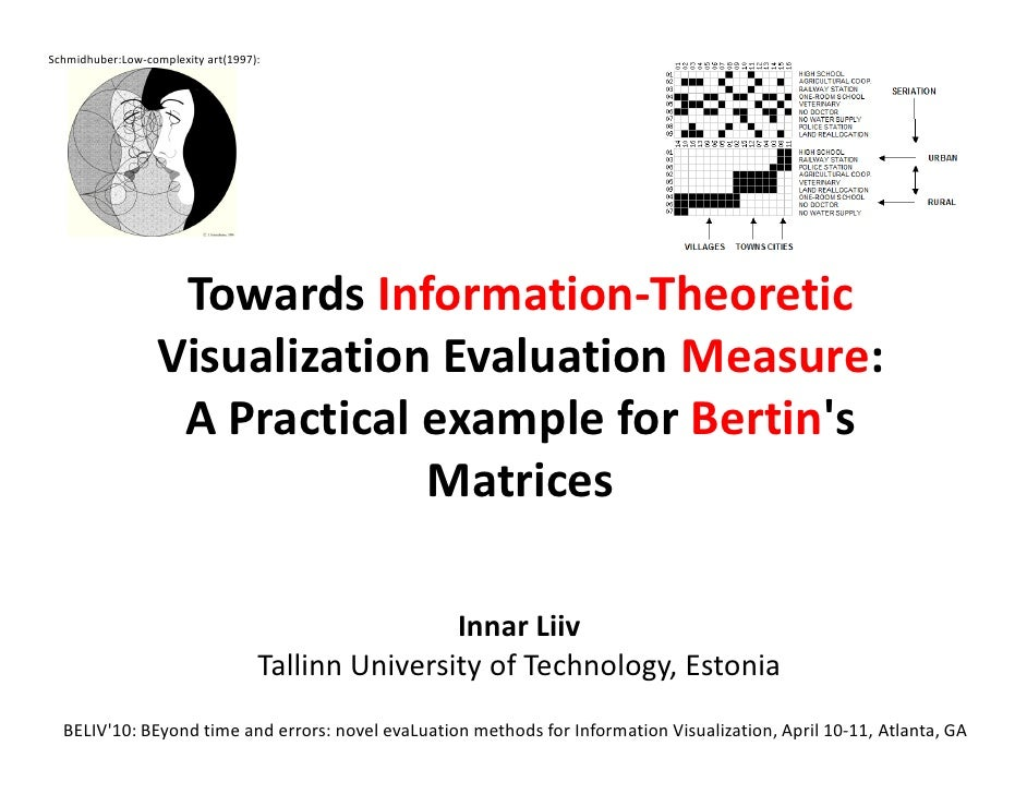 Towards Information-Theoretic Visualization Evaluation Measure: A Practical example for Bertin's Matrices.