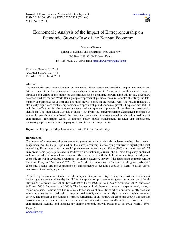 7.masaviru warren econometric analysis of the impact of enterpreneurship on economic growth -71-88