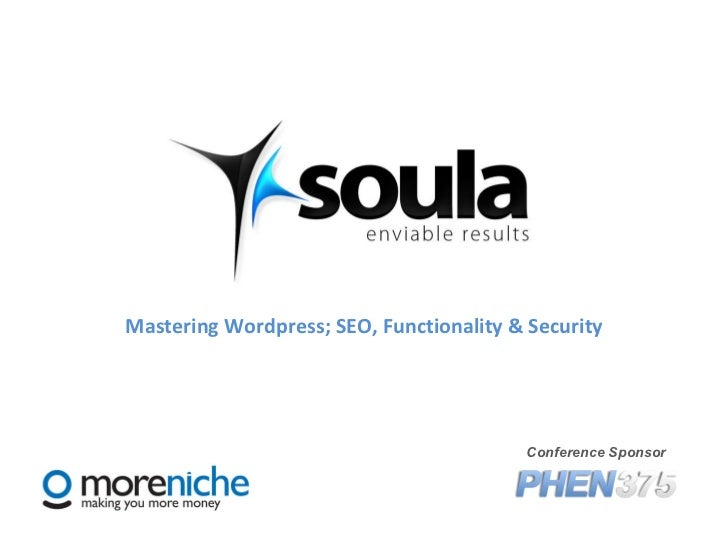 Mastering Wordpress; SEO, Functionality & Security Conference Sponsor