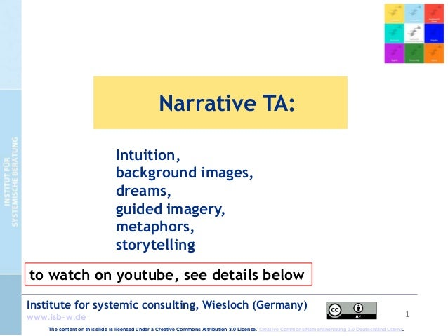 1 Institute for systemic consulting, Wiesloch (Germany) www.isb-w.de Narrative TA: Intuition, background images, dreams, g...
