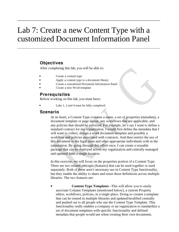 Lab 7: Create a new Content Type with a customized Document Information Panel        Objectives       After completing thi...