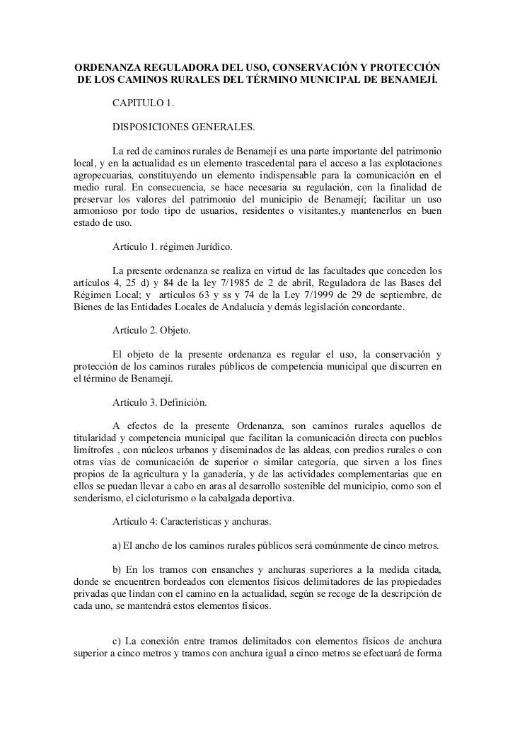 ORDENANZA REGULADORA DEL USO, CONSERVACIÓN Y PROTECCIÓNDE LOS CAMINOS RURALES DEL TÉRMINO MUNICIPAL DE BENAMEJÍ.         C...