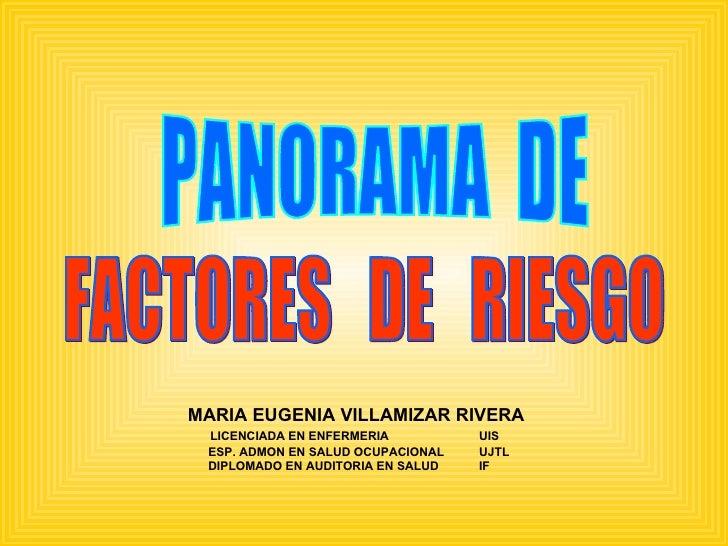 PANORAMA  DE  FACTORES  DE  RIESGO MARIA EUGENIA VILLAMIZAR RIVERA LICENCIADA EN ENFERMERIA UIS ESP. ADMON EN SALUD OCUPAC...