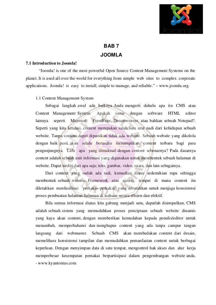 "BAB 7                                           JOOMLA7.1 Introduction to Joomla!       ""Joomla! is one of the most powerf..."