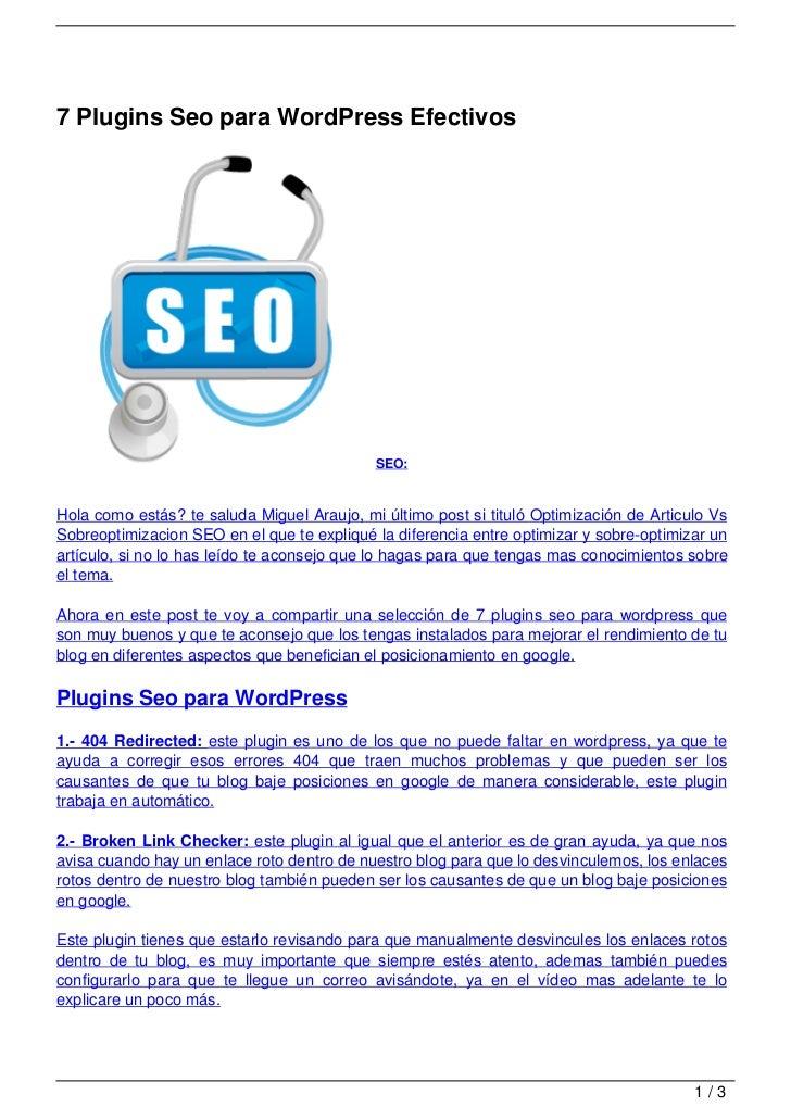 7 Plugins Seo para WordPress Efectivos                                            SEO:Hola como estás? te saluda Miguel Ar...