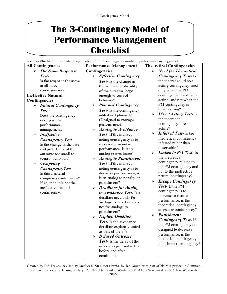 3 Contingency Model               The 3-Contingency Model of                Performance Management                       C...