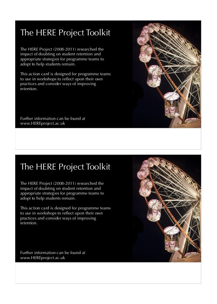 The HERE Project ToolkitThe HERE Project (2008-2011) researched theimpact of doubting on student retention andappropriate ...