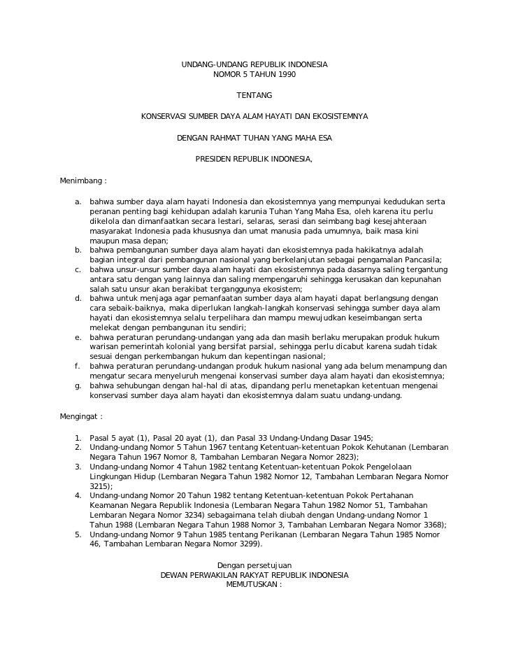 UU RI Nomor 5 Tahun 1990
