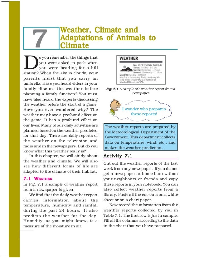 7                     Weather, Climate and                     Adaptations of Animals to                     ClimateD     ...