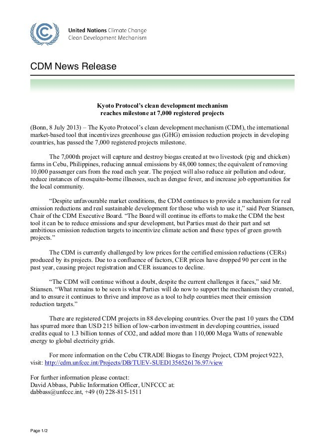Page 1/2 CDM News Release Kyoto Protocol's clean development mechanism reaches milestone at 7,000 registered projects (Bon...