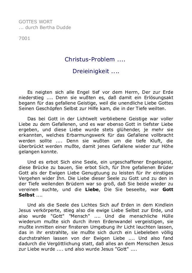 GOTTES WORT  ... durch Bertha Dudde  7001  Christus-Problem ....  Dreieinigkeit ....  Es neigten sich alle Engel tief vor ...