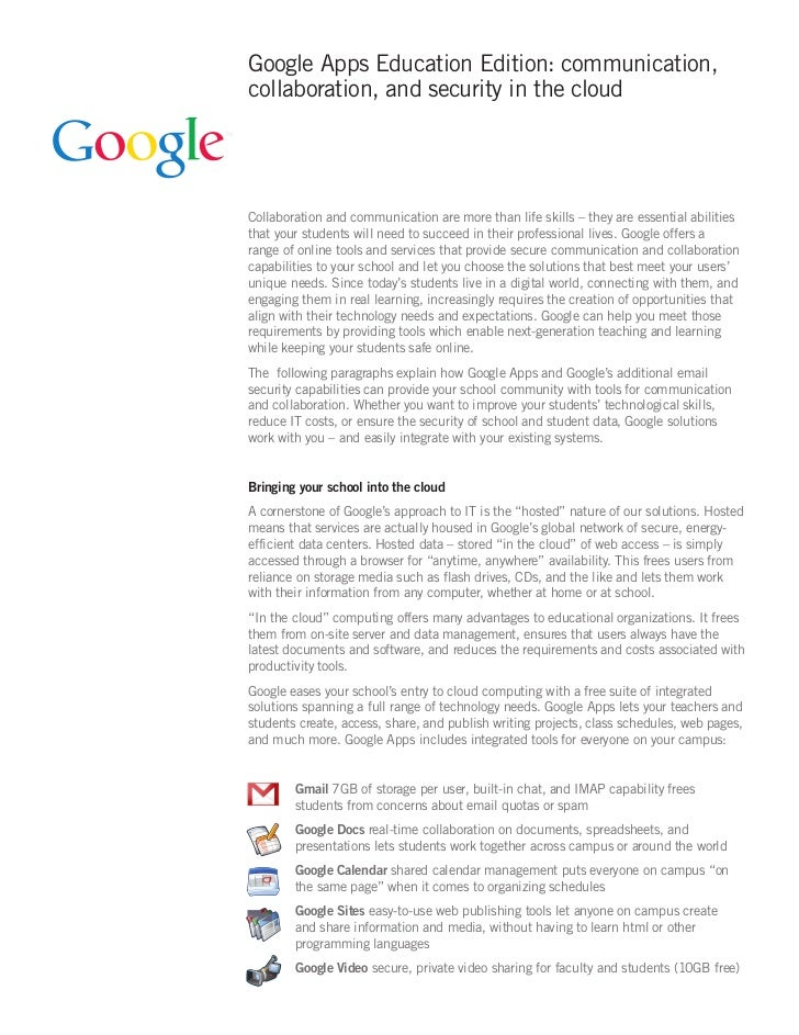 Google Apps Education Edition: communication,collaboration, and security in the cloudCollaboration and communication are m...