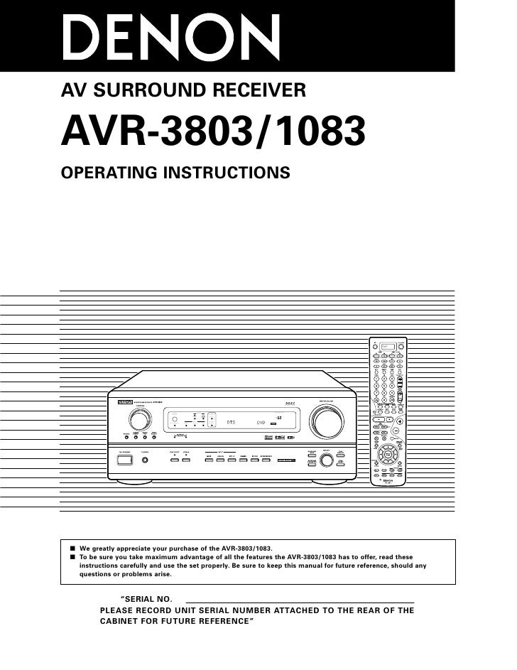 AV SURROUND RECEIVER  AVR-3803/1083 OPERATING INSTRUCTIONS                                                                ...
