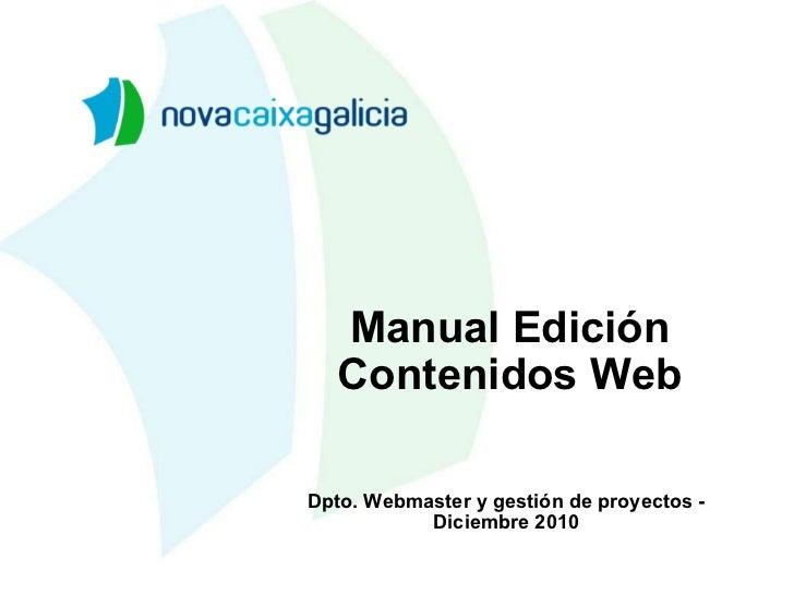 Manual Edición Contenidos Web Dpto. Webmaster y gestión de proyectos - Diciembre 2010