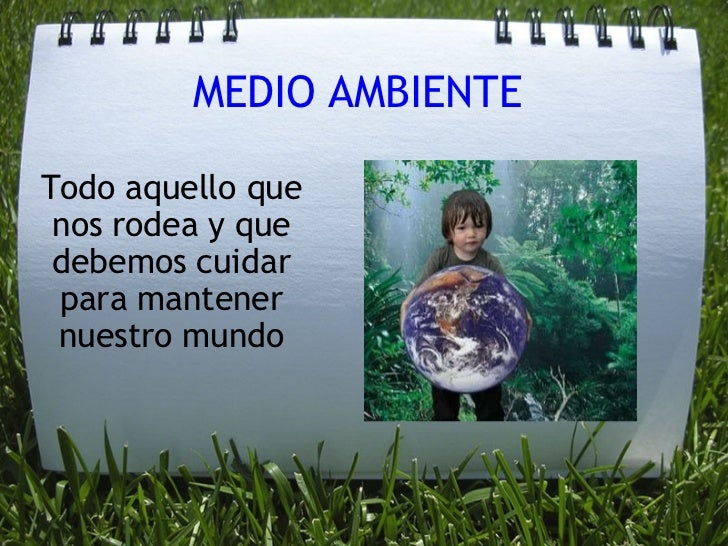 MEDIO AMBIENTE Todo aquello que nos rodea y que debemos cuidar para mantener nuestro mundo