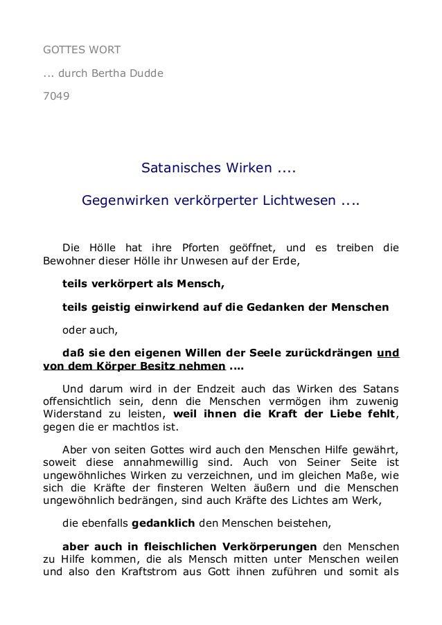 GOTTES WORT  ... durch Bertha Dudde  7049  Satanisches Wirken ....  Gegenwirken verkörperter Lichtwesen ....  Die Hölle ha...
