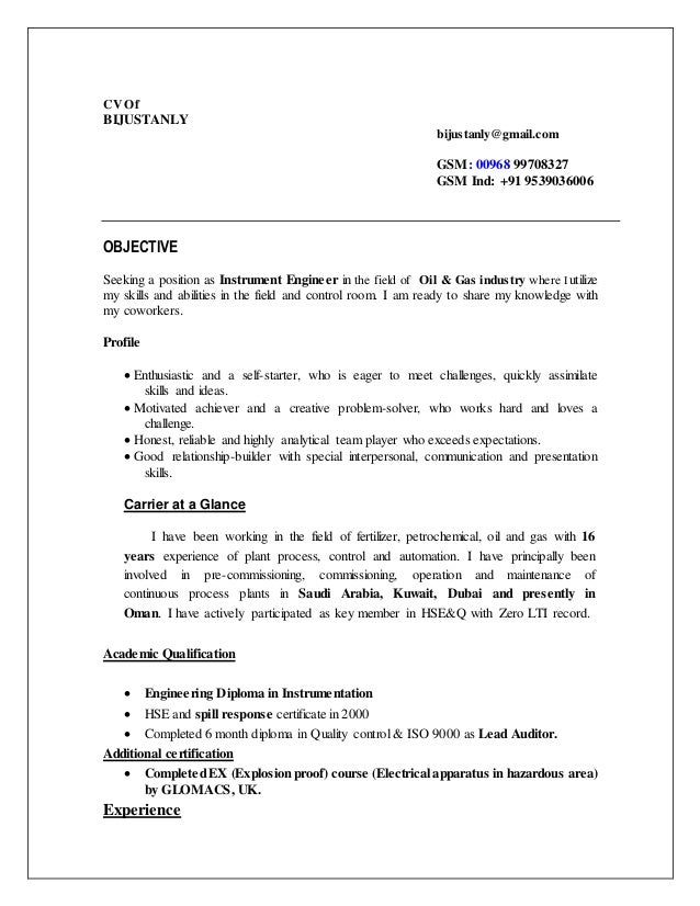 cv instrument commissioning engineer