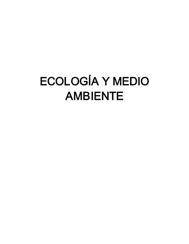 ECOLOGÍAYMEDIO AMBIENTE