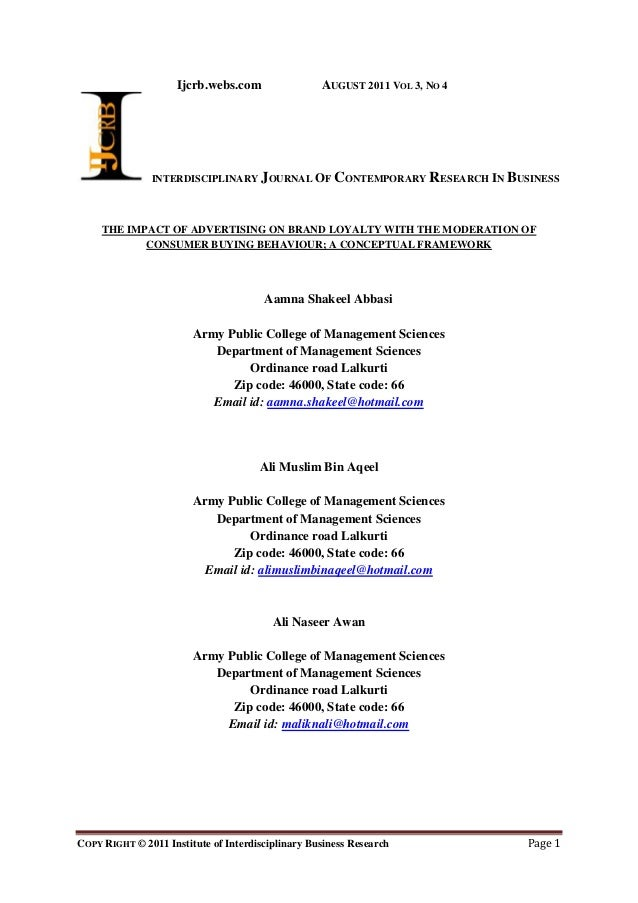 Research papers on consumer buying behaviour