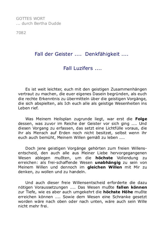 GOTTES WORT  ... durch Bertha Dudde  7082  Fall der Geister .... Denkfähigkeit ....  Fall Luzifers ....  Es ist weit leich...