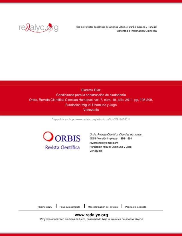 Red de Revistas Científicas de América Latina, el Caribe, España y Portugal  Sistema de Información Científica  Bladimir D...