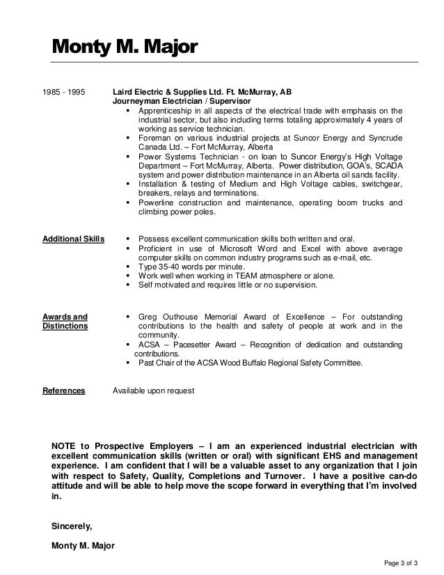 Sample Electrician Resume Template Free Documents Download In Electrician Apprenticeship  Resume Example Plumber Resume Example Letter