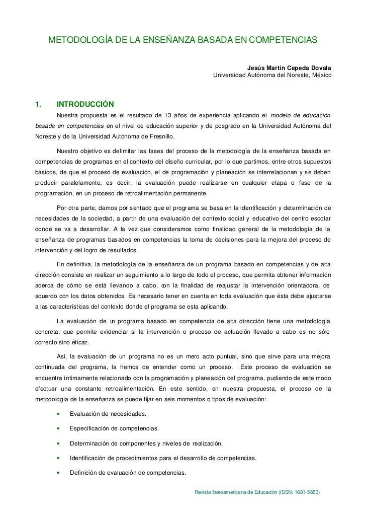 METODOLOGÍA DE LA ENSEÑANZA BASADA EN COMPETENCIAS                                                                        ...