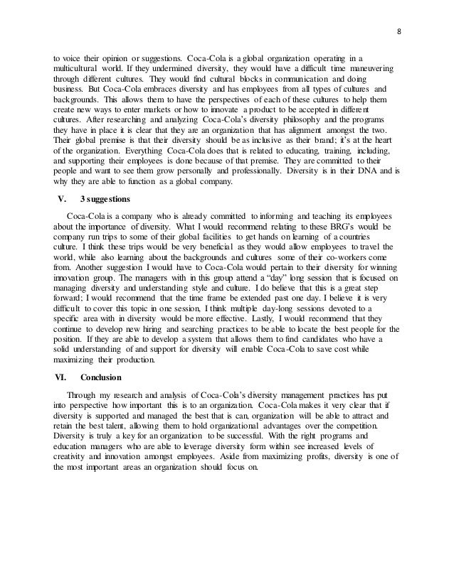cultural diversity final paper Essay: diversity in the workplace diversity means differences, difference of leading the way in the area of diversity management have discovered that by embracing the elements of ethnic and cultural diversity in their workforce they have enhanced their ability to understand and.