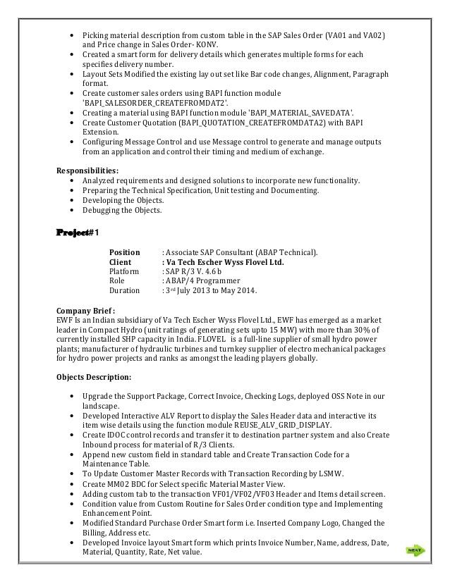 sap abap sample resume 85 remarkable samples of resume examples
