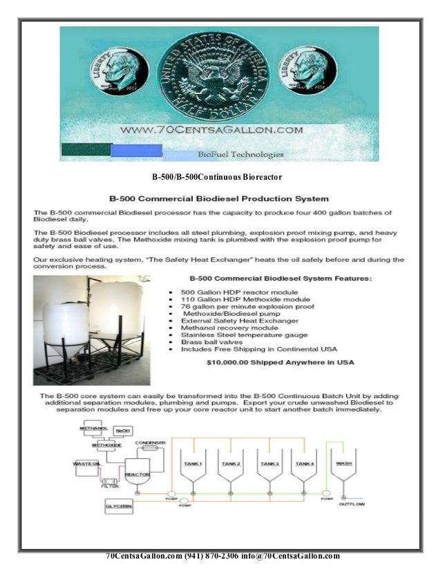 70CentsaGallon.com (941) 870-2306 info@70CentsaGallon.com B-500/B-500Continuous Bioreactor