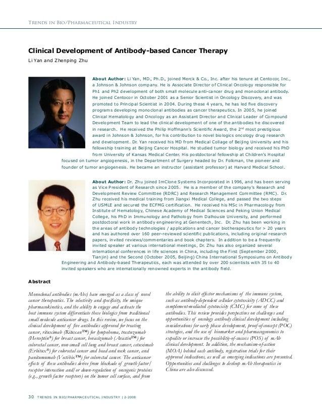 30 Trends In Bio/Pharmaceutical Industry | 2-2008 Trends in Bio/Pharmaceutical Industry Clinical Development of Antibody-b...
