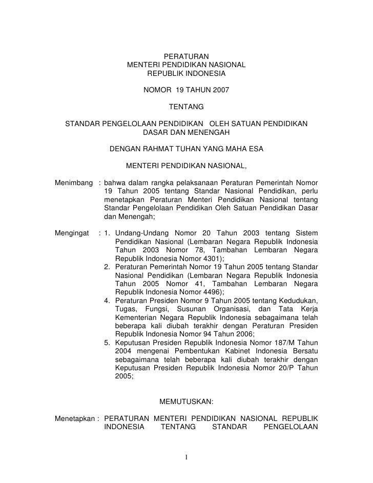 PERATURAN                   MENTERI PENDIDIKAN NASIONAL                       REPUBLIK INDONESIA                        NO...