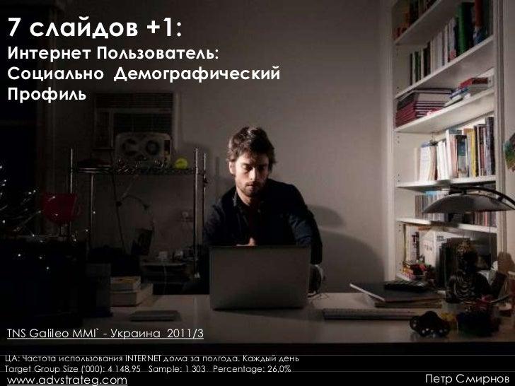 7 слайдов +1:Интернет Пользователь:Социально ДемографическийПрофильTNS Galileo MMI` - Украина 2011/3ЦА: Частота использова...